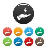 Save energy icons set color vector illustration