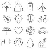 Save energy icons. Set of 16 ecology and save energy icons Royalty Free Stock Photos