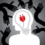 Save energy idea. Save energy concept with human head Royalty Free Stock Photography