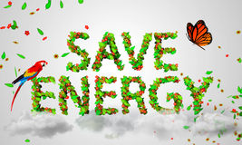 Save Energy leaves particles 3D. Digital art Royalty Free Stock Images