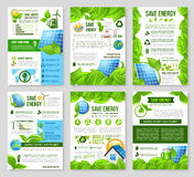 Save energy poster template for ecology design. Save energy poster template set. Solar panel, wind turbine, green house, light bulb and globe with green leaf royalty free illustration