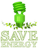 Save energy sign with lightbulb and plant Royalty Free Stock Image