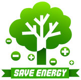 Save energy sign with tree and symbols Royalty Free Stock Photography