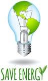 Save energy theme with earth on lightbulb Stock Image