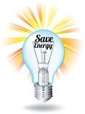 Save energy theme with lightbulb Stock Photos