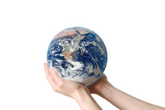 Save Environment Earth isolated. A hand holding a globe, saving environment recycle Stock Photography