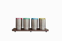 Save The Esarth,four trash cans,separate each type of trash(with. Four trash cans,separate each type of trash(with clipping path Royalty Free Stock Photography