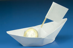 Save the euro. A lifeboat for the euro currency from drowning Royalty Free Stock Image