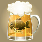 Save the fish. Funny illustration with a beer mug and fish inside crying for help drawn in cartoon style Royalty Free Stock Images