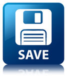 Save (floppy disk icon) blue square button Stock Image