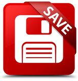 Save (floppy disk icon) red square button red ribbon in corner Royalty Free Stock Photo