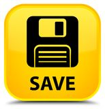 Save (floppy disk icon) special yellow square button Royalty Free Stock Photography