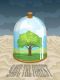 Save the Forest. Earth Day. Save the forest. Colorful illustration with tree under a glass dome in the desert Royalty Free Stock Image