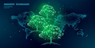 Save forest ecology abstract banner template. Eco rainforest safety environment care green trees on world map 3d. Polygonal dark blue background. Deforestation vector illustration