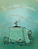Save the forests. A little tree grows in a particular gift box! Digital illustration Royalty Free Stock Image