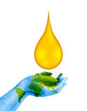 Save Fuel Concept. Hands holding the oil drop to suggest save fuel, save energy, save environment royalty free illustration