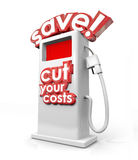 Save Fuel Gas Pump Filling Station Cut Your Costs Economy Budget. Save and Cut Your Costs 3d words on a gas station filling fuel pump to illustrate getting Royalty Free Stock Images