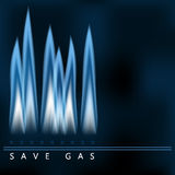 Save gas, blue gas flame, energy saving Royalty Free Stock Images