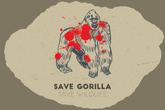 Save gorilla. Save wildlife. Royalty Free Stock Images