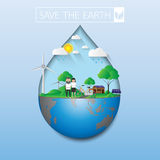 Save the green earth. Save the earth.Eco life with green nature.Vector illustration Stock Photography