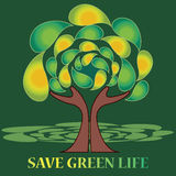 Save green life. Hands protecting tree with a ' save green life ' motto . Any tree needs a protection from each human being and every human being must lead Royalty Free Stock Photo