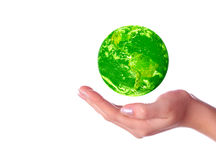 Save the green planet. Isolated on white royalty free stock photo