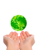 Save the green planet. Isolated on white stock photo