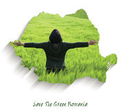 Save the Green Romania. Map with green wheat field inside Stock Photo