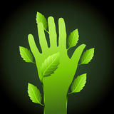 Save greenery concept with hand Royalty Free Stock Photos