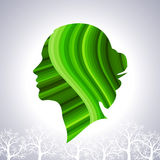 Save greenery concept with woman head Royalty Free Stock Photo