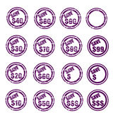 Save $ grunge stamp set. Set of sixteen save $$$ grunge stamp, in stamp colors  ,isolated on white.png file also available Royalty Free Stock Images