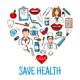 Save Health symbol with heart of medical sketches Royalty Free Stock Photo