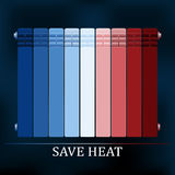 Save heat colored radiator illustration. For reduce energy consumption Royalty Free Stock Image