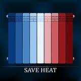 Save heat colored radiator illustration Royalty Free Stock Image