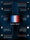 Save heat infographic , icons and methods of heat saving. Save heat icon infographic , ways and methods of heat saving in the house or flat Royalty Free Stock Photo