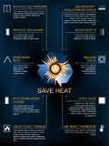 Save heat infographic , icons and methods of heat saving Royalty Free Stock Photography