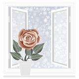 Save heat postcard, open window with snowflakes background Stock Images
