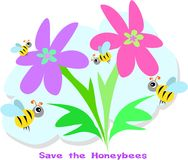 Save the Honeybees and Flowers Stock Photo