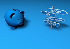Save Or Invest. Piggybank or money-box with investment options on directional signs Royalty Free Stock Photos