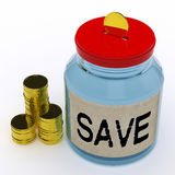 Save Jar Means Saving And Reserving Money Stock Photo