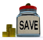 Save Jar Shows Save Or Set Aside Money And Finances Royalty Free Stock Photo