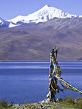 Save journey symbol. Prayer flag in tibet help you save journey Stock Photography