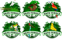 Save jungle emblems with animals set Royalty Free Stock Photo