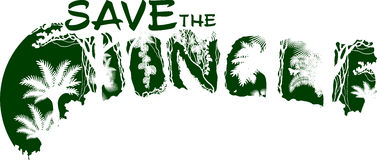 Save the jungle rainforest vector illustration for t-shirt and other uses Royalty Free Stock Image