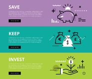 Save. Keep. Invest. Web banners  set. Flat line web banners of financial literacy. Line piggy bank, money bags and money sprout for websites and marketing Stock Image