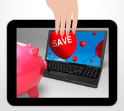 Save Laptop Displays Promos And Discounts On Internet Stock Image