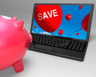 Save Laptop Shows Promos And Discounts On Internet Royalty Free Stock Image