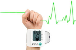 Save life on blood pressure monitor Royalty Free Stock Photos