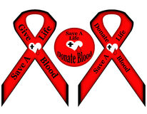 Save a Life Donate Give Blood. Save a Life, Give and Donate Blood illustrated ribbons and button in red and black with white hearts with black cross on it and a Stock Photography