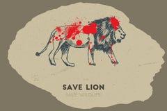 Save lion. Save wildlife. Stock Photo